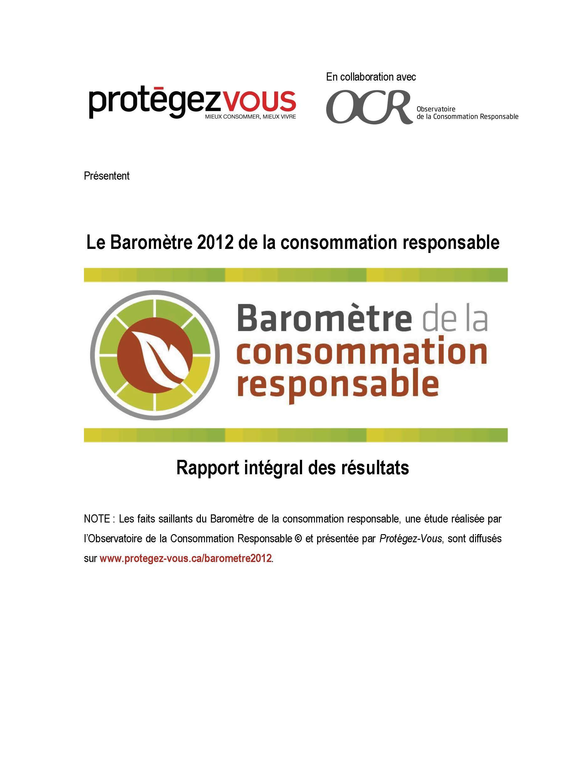 Baromètre de la consommation responsable Édition 2012